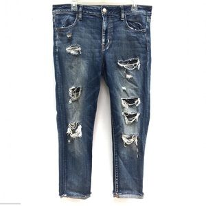 AE Destroyed Ripped Raw Hem Jegging Crop Jeans